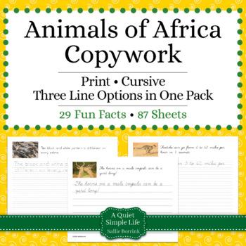 Animals of Africa Unit - Copywork - Print and Cursive - Ha