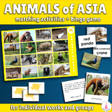 Animals of Asia Bingo Game and Matching Activities