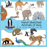 Animals of Asia Hand Sketched clip art Clipart