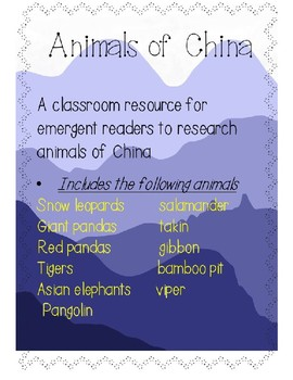 Animals of China - an information unit for emergent readers