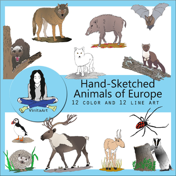 Animals of Europe Hand Sketched clip art bundle
