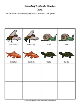 Animals of Freshwater Marshes: Animal Facts Matching Game
