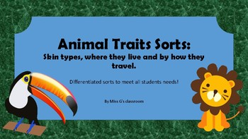 Animals of different habitats traits sorts- skin, travel and live