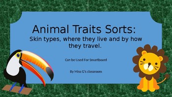 Animals of different habitats traits sorts- skin, travel and live- Smartboard
