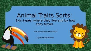 Animals of different habitats traits sorts- skin, travel and live- Smartboard