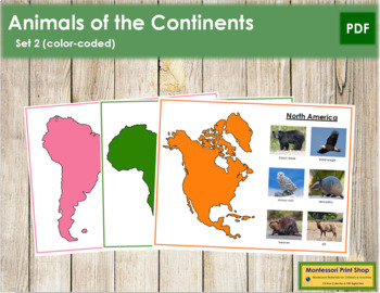 Animals of the Continents Set 2 (color-coded)