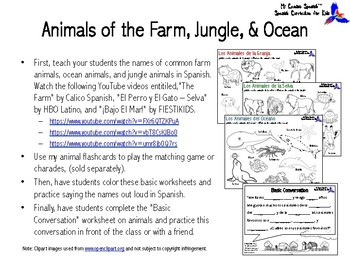 Learn the Animals of the Farm, Ocean & Jungle in Spanish!
