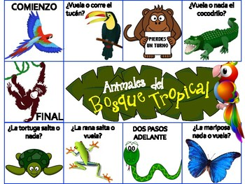 Animals Of The Rainforest Spanish Board Game Amp Animal Fact