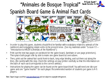 Animals of the Rainforest Spanish Board Game & Animal Fact Cards