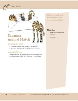 Animals of the Savanna: Center Activity