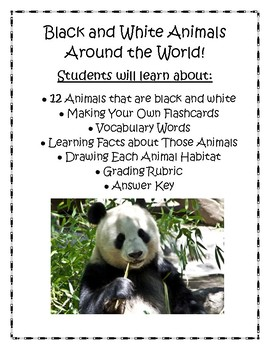 Animals of the World: Black and White Lapbook