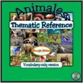 Animals of the World Vocabulary  - Vocabulario de animales del mundo