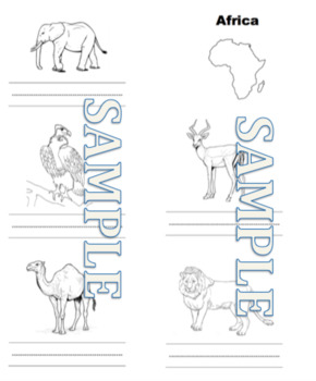 Animals of the World Watercolored Animals- blank copy and master ready to print