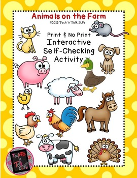 Animals on the Farm - Interactive Self-Checking Activity