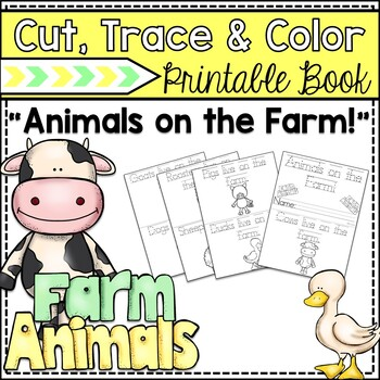 """""""Animals on the Farm"""" Cut, Trace & Color Printable Book!"""