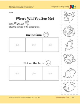 Animals on the Farm: Language and Math Activities