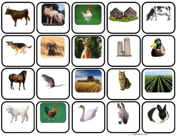 """""""Animals on the Farm"""" Words Matcing/ Memory Game/ Flashcards for Autism"""