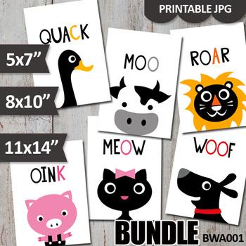 Animals sounds printable wall art poster bundle