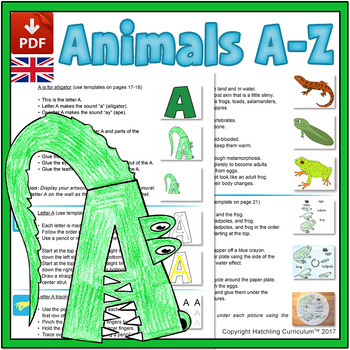 Animals & the Alphabet: 26 Curriculum Lessons - UK Version (A4)