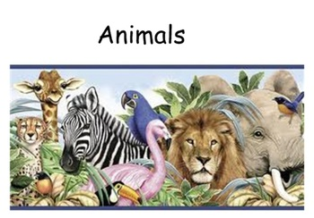 Animals unit to be used with a smartboard
