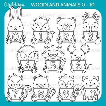 Animals with Numbers Clip Art 0-10