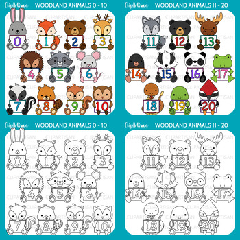 Animals with Numbers Clip Art Bundle 0-20