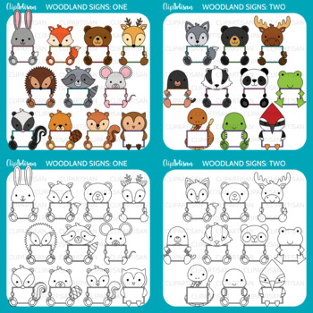 Animals with Signs Clip Art Bundle