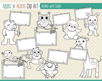 Animals with Signs Clip Art - color and outlines