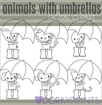Animals with Umbrellas Black Line Clip Art