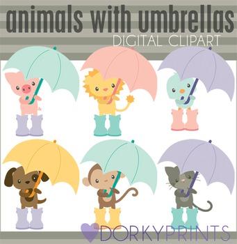 Animals with Umbrellas Digital Clip Art