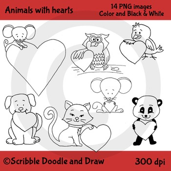 Animals with hearts clip art