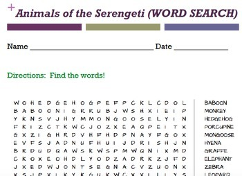 Animals word searches - 9 word searches