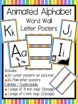 Animated Alphabet Word Wall Letters and Tags