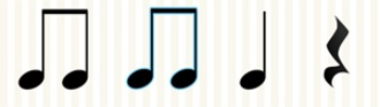 Animated Flashcards: Quarter note, Eighth notes, Quarter Rest