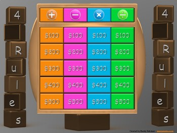 Animated Interactive Maths Gameshow - 4 Rules (questions without words)