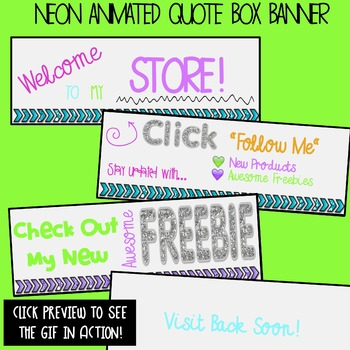 Animated Quote Box Banner {Neon} GIF