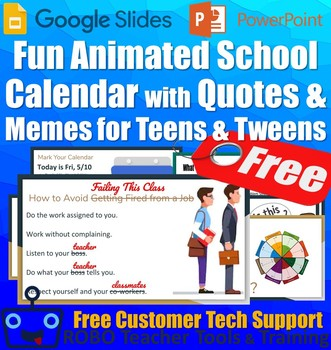 Fun Animated Spring Calendar with Quotes & Memes for Middle & High School - FREE