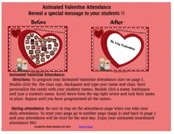 Animated Valentine's Day  Attendance for the Smartboard K to 5 Grade