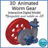 Animated Worm Gear - 3D - STEM Graphic for Whiteboards and