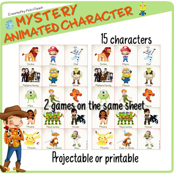 Animated characters GUESS WHO game - Learn and play - PRINT and GO