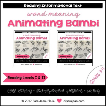 Animating Disneys Bambi • Reading Comprehension Passages & Questions • RL I & II