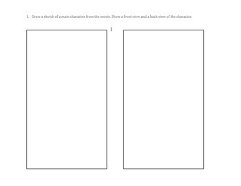 Animation Analysis and Drawing Worksheet for Middle/High School Grades