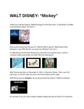 Animation Art Lesson - Walt Disney - Lesson Plan
