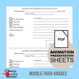 Animation Rubric and Self Evaluation Form for Middle/High Grades