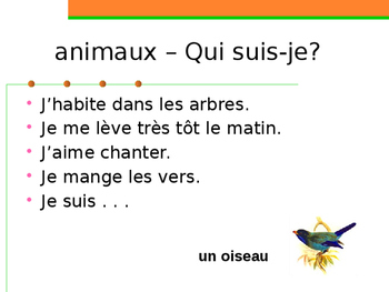 Animaux (Animals in French) Qui suis-je?