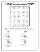 Animaux (Animals in French) wordsearch for differentiated learning