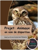 Animaux en voie de disparition (Endangered Species Project in French)
