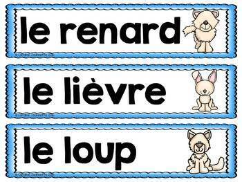 FRENCH Artic Animals Word Wall Cards / Animaux de l'Arctique - Mots-étiquettes