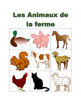 Animaux de la ferme (Farm animals in French) Bingo