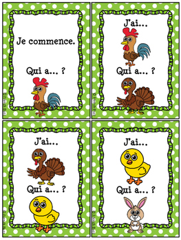 Animaux de la ferme - Jeu j'ai qui a - French Farm Animals